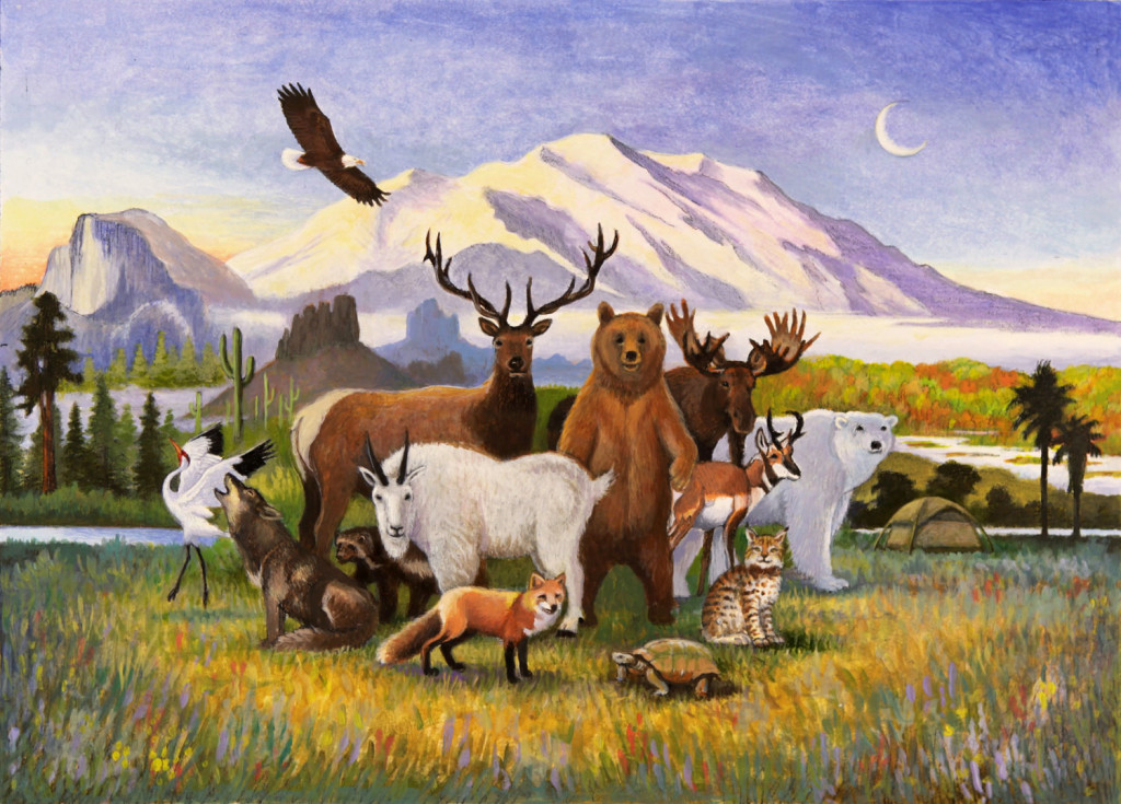 fine art poster by Montana-based, internationally-acclaimed artist Monte Dolack, commemorating the 50th Anniversary of the Wilderness Act